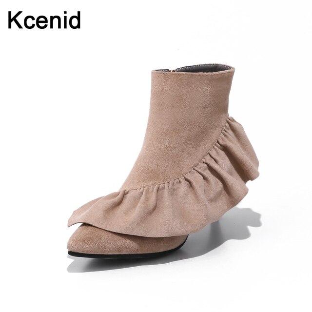 4ca2149e202 Kcenid Plus taille 33-43 chaussures femme petit chat talon zipper suede  cheville bottes mode
