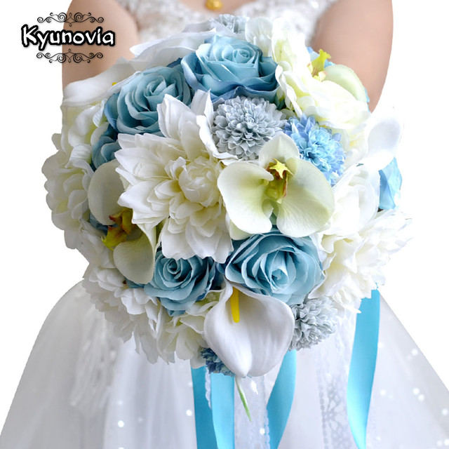 Kyunovia Wedding Flowers Bridal Bouquet Blue Color Roses Accessories Artifical Flower Bouquets For