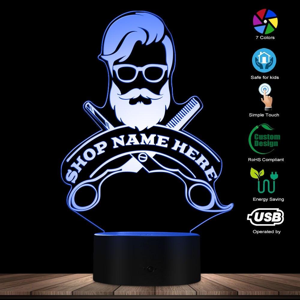 Gehoorzaam Barbershop Haar Kapper Kapsel Business Baard Salon Man Led Night Lamp Custom Kapper Winkel Naam Acryl Led Edge Light Logo Door Wetenschappelijk Proces