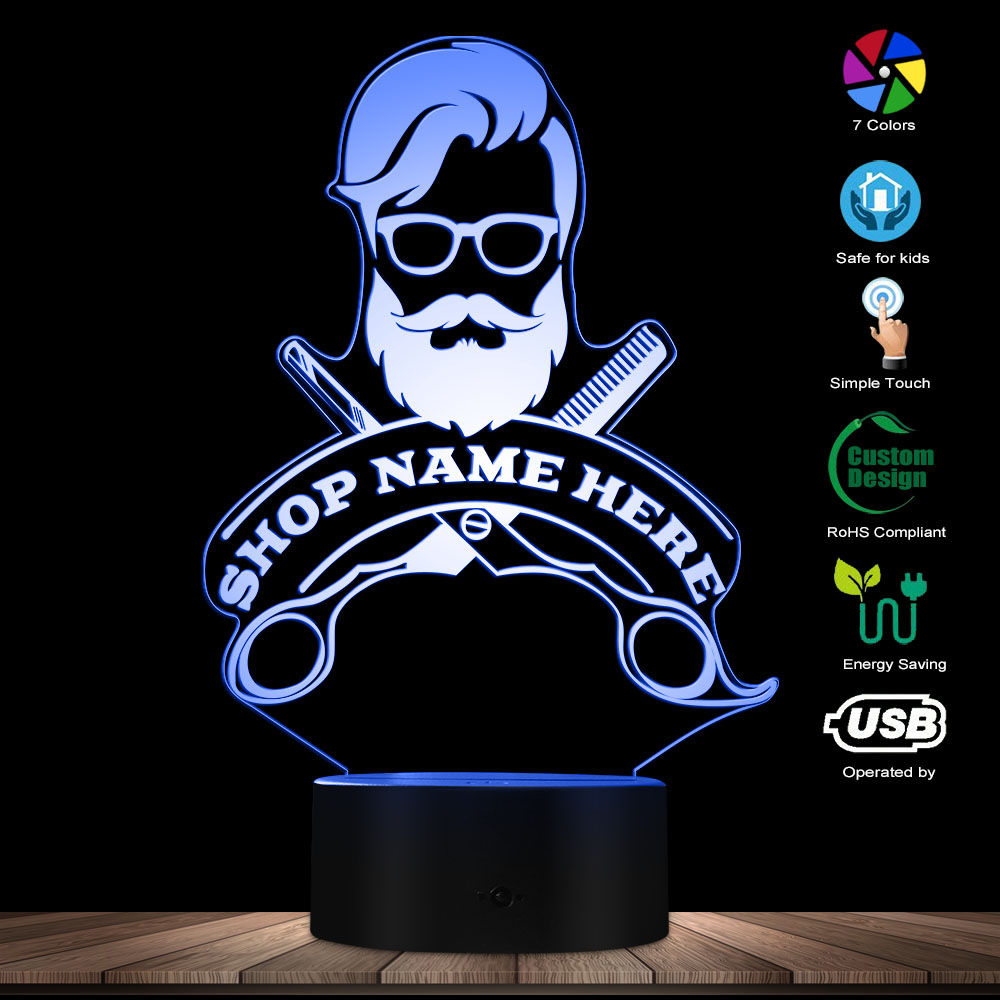 Barbershop Hair Hairdresser Haircut Business Beard Salon Man LED Night Lamp Custom Barber Shop Name Acrylic LED Edge Light Logo