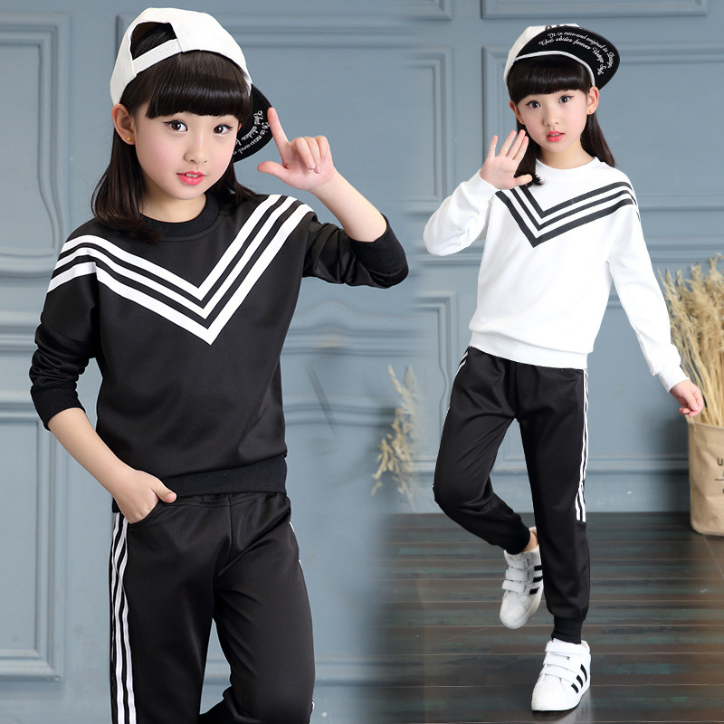 New Girls Sets 2017 Spring Autumn Baby Girls Clothes Sports Sweater +Pants 2Pcs Sets Suit Children Girls Clothing Sets for 3-9Y autumn winter girls children sets clothing long sleeve o neck pullover cartoon dog sweater short pant suit sets for cute girls