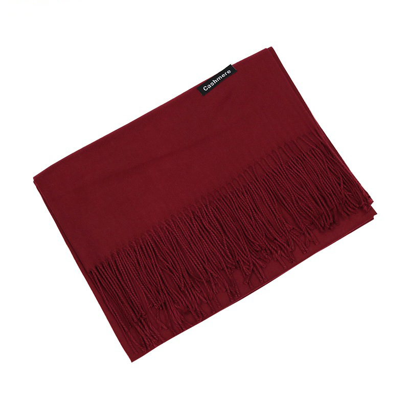 Winter Women Scarf Solid Long Scarves Imitation Cashmere Pure Color Shawls Thickening Monochromatic Tassel Scarf Gift Custom in Women 39 s Scarves from Apparel Accessories