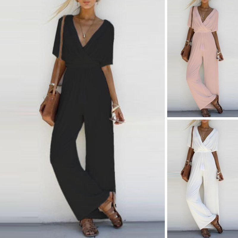 35fabf215fe1 CANIS Long Black Rompers Womens Jumpsuit Winter Autumn V-neck Embellished  Cuffs Mesh Sleeves Loose