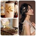 Ouro grego folha pérola faixas de cabelo pinos de noiva mantilha grampos casamento nupcial acessórios de cabelo jóias Cabelo Varas