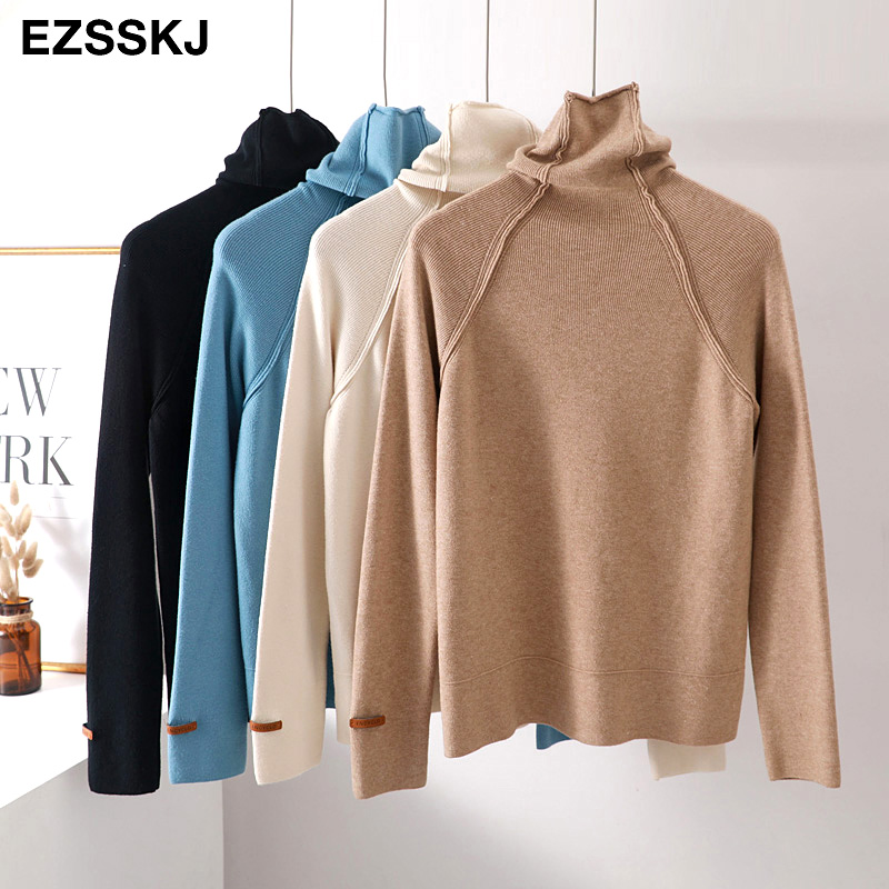 High Quality Turtleneck Sweater Women Autumn Winter Thick Pullover Solid Knitted Sweater Female Oversized Pile Collar Sweater