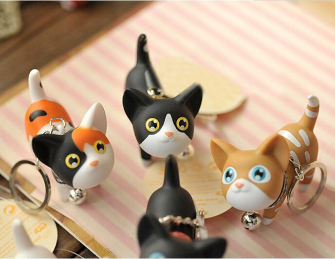 50 Pcs Multicolor Cute Cute Cat Keychain Animale Dolls Catena Chiave Del Pendente Palline Scuotere La Testa Campana per I Bambini Gioielli Creativi regalo - 4