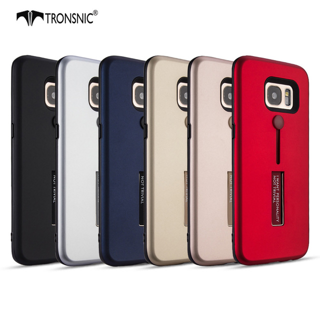 best loved c3f46 7e110 US $4.99 |Tronsnic Stand Phone Case for samsung galaxy S7 edge Matte Finger  Ring Case for S7 edge Red Black Gold Hot Luxury Business Cover-in Fitted ...