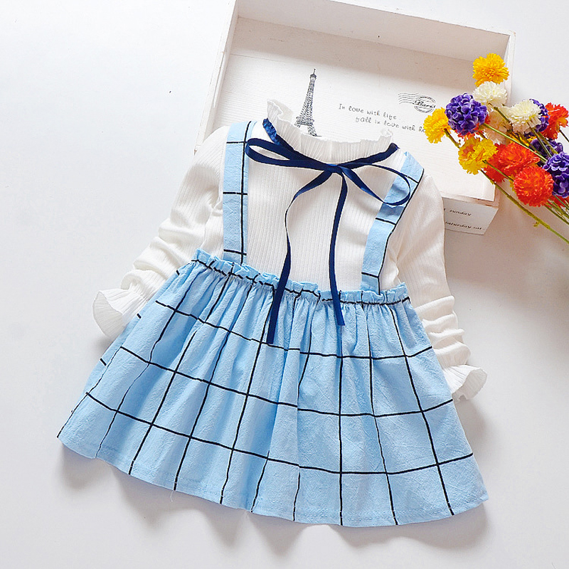 Children Dress Long-Sleeve Plaid Toddler Girls Kids Clothes Cotton Fashion Spring