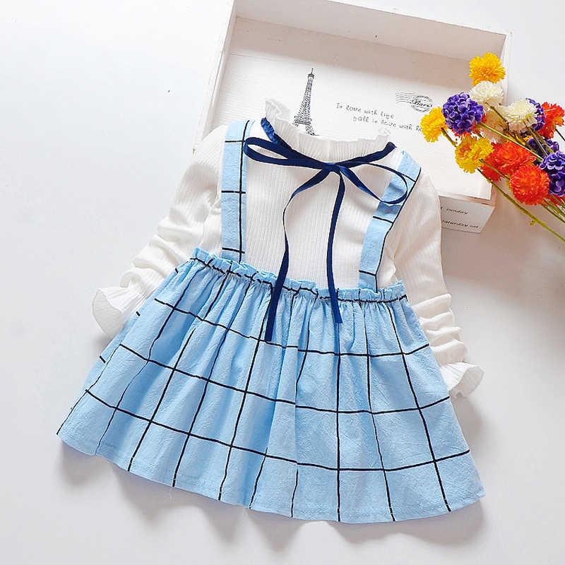 7ef041e8021 2019 весеннее платье для маленьких девочек Хлопковое платье в клетку с  длинными рукавами для девочек