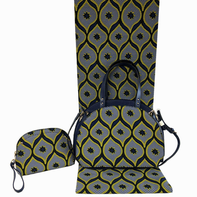 Newest Design Woman Bag And Cotton Fabric Set High Quality African Handbag And Wax Fabric Matching