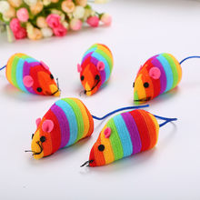Pet Cat Toy Mouse Shape Cloth Toy Rainbow Color Interactive Toy #20190202(China)