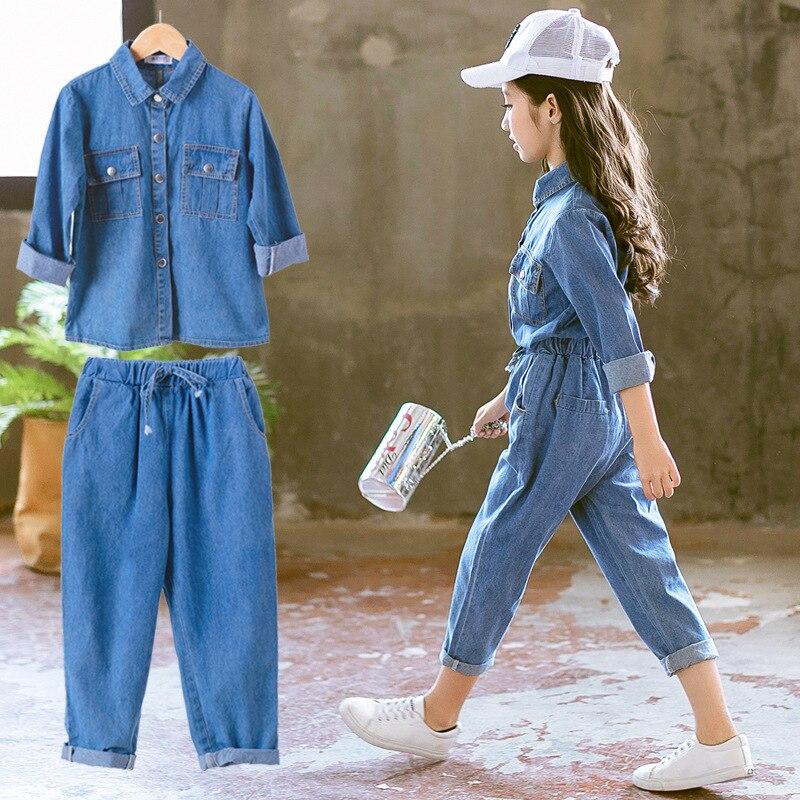 Teens Girl Long Shirt Pant Set Children Clothing Sets Girls Summer Fashion  Denim Clothes Children Outfits Fashion Casual Jeans|Clothing Sets| -  AliExpress