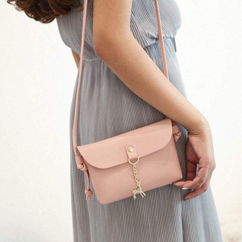 Women Mini Shoulder Bag Pink Envelope Messenger Bags Ladies Korean Style Deer Pendant Crossbody Bags For Women 2018 Handbag Hot