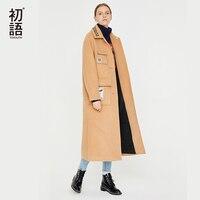 Toyouth Women Solid Long Coat Long Sleeve Pocket Blends Turn Collar Womens Coats Winter Plus Size Coat Outwear Abrigo Mujer