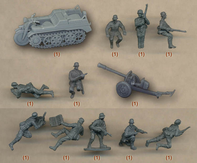super mini pvc figure 1:72 German World War II Soldiers non Painted Group