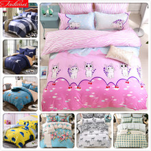 Cute Kitty Cat Pattern Pink Duvet Cover 3/4 pcs Bedding Set Kids Child Soft Bed Linens Single Full Double Queen Size Quilt Case(China)