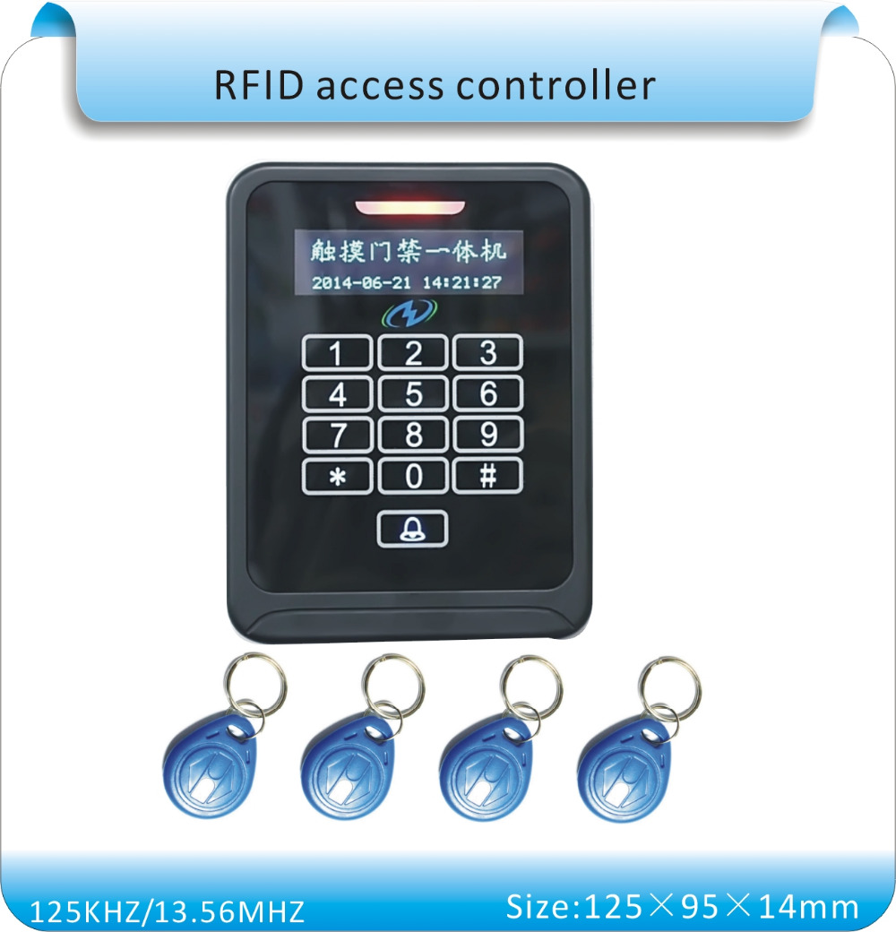 Free shipping K08a with touch led 125KHZ RFID + password  access/access control swipe card +10pcs keycards. dc 12v touch keyboard blue led key rfid 125khz em cards password access controller 10 keycards