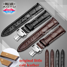 AOTU 18-24mm Little Calf Leather Watch band Watch Strap Butterfly Clasp for Seiko Oris Citizen for Omega Watchband + Free Tools