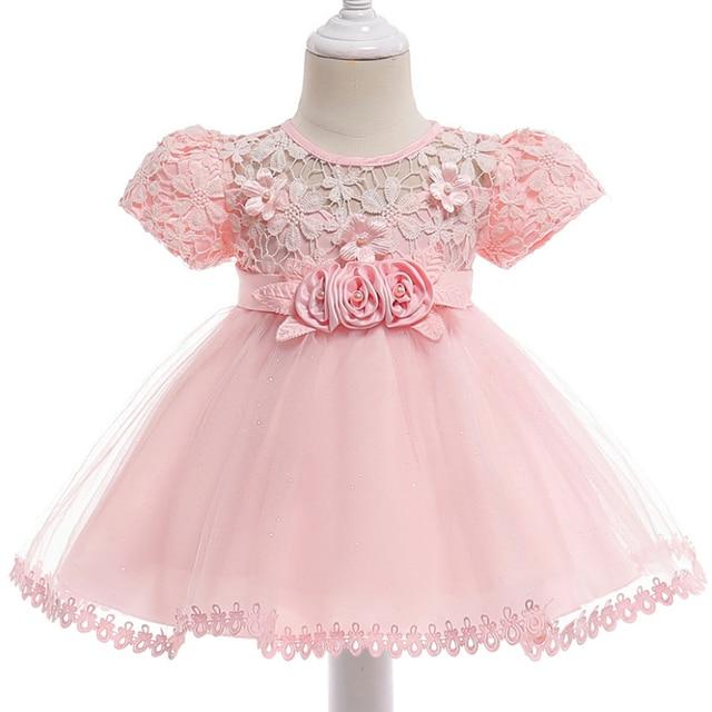 aedda1bfb69bb Baby Kids Flower Lace Baptism Dress For Girls Princess Party Dress Infant  Christening 1st Birthday Dress Christmas Costume Bebes
