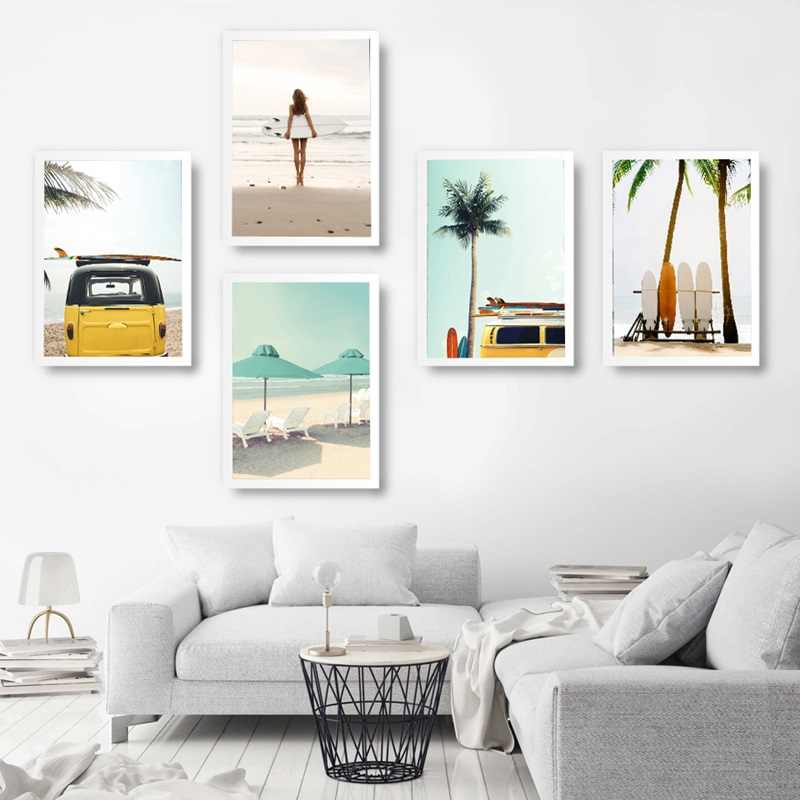 Wall Art Beach Seascape Canvas Print Figure Poster Surf Board Painting Nordic Style Modular Picture Bedroom Home Decoration