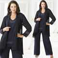 Gorgeous Three Pieces Mother of the Bride Pant Suits 2015 New Style Chiffon Mother of the Bride Dresses Plus Size