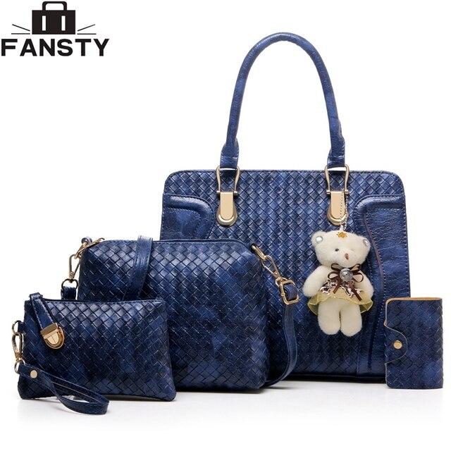 f69fc51f8 4 Peças Conjunto De Couro PU Saco Composto Nova Moda Tricô estilo Mulheres  Bolsa Azul Royal