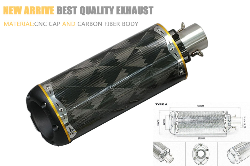 51mm universal motorcycle exhaust pipe Carbon fiber CNC aluminium alloy CBR R1 R6 ESCAPE brothers two bro TBR exhaust with veido motorcycle performance exhaust pipe cnc carbon fiber oval tube large displacement car brothers exhaust pipe id 51mm