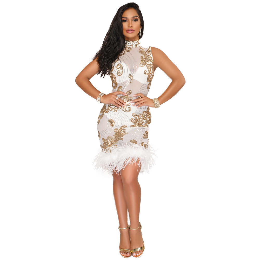 Sexy Sheer Mesh Sequin Dress Women Sleeveless Feather Patchwork Glitter  Dress Sparkly Bodycon Party Dresses Winter ff0001832d0d