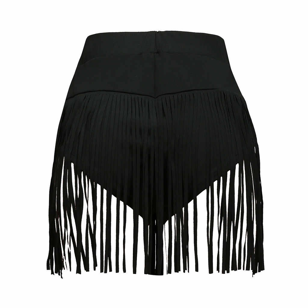 FREE OSTRICH British style women's fashion casual three-dimensional shorts tight sexy tassel elastic band dance triangle shorts