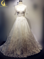 Real Picture High Neck Long Sleeves Lace Appliques Sexy Luxury A line Vintage Wedding Gown Wedding Dresses 2017