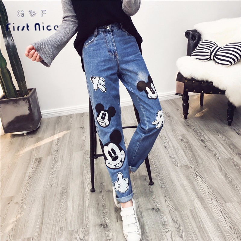 ФОТО Women Jeans 2017 Spring New Fashion Mickey Pattern Appliques Pencil Pants Embroidery Long Length Preppy Style Denim Bottoms