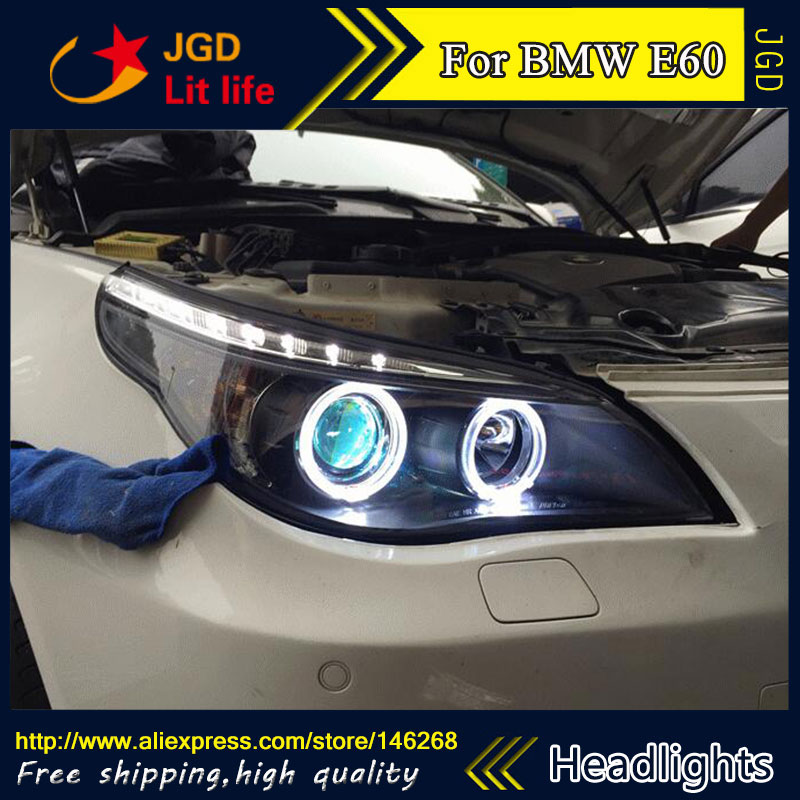 Phare de LED de Style de pièce automatique pour BMW E60 520 523 525 530 phares de LED drl hid faisceau de croisement de lentille bi-xénon