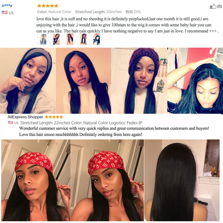 Straight Lace Front Wig Mänskliga Hårperor För Svarta Kvinnor - Mänskligt hår (svart) - Foto 6
