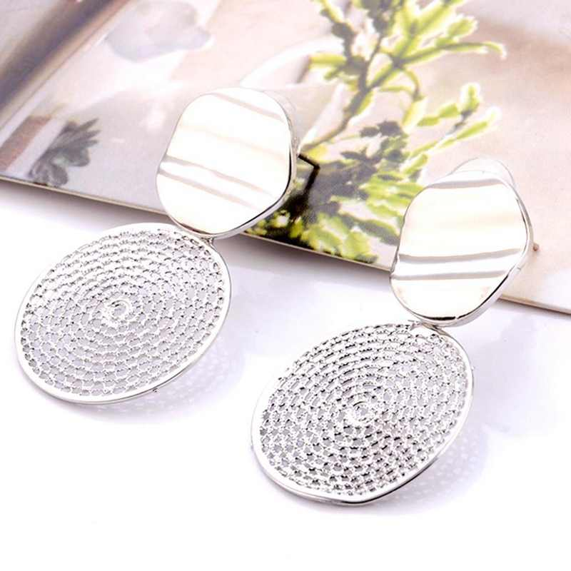 Hollow Metal Round Dangle Earrings For Women Exaggerate Personality Drop Brincos Boucle D'oreille