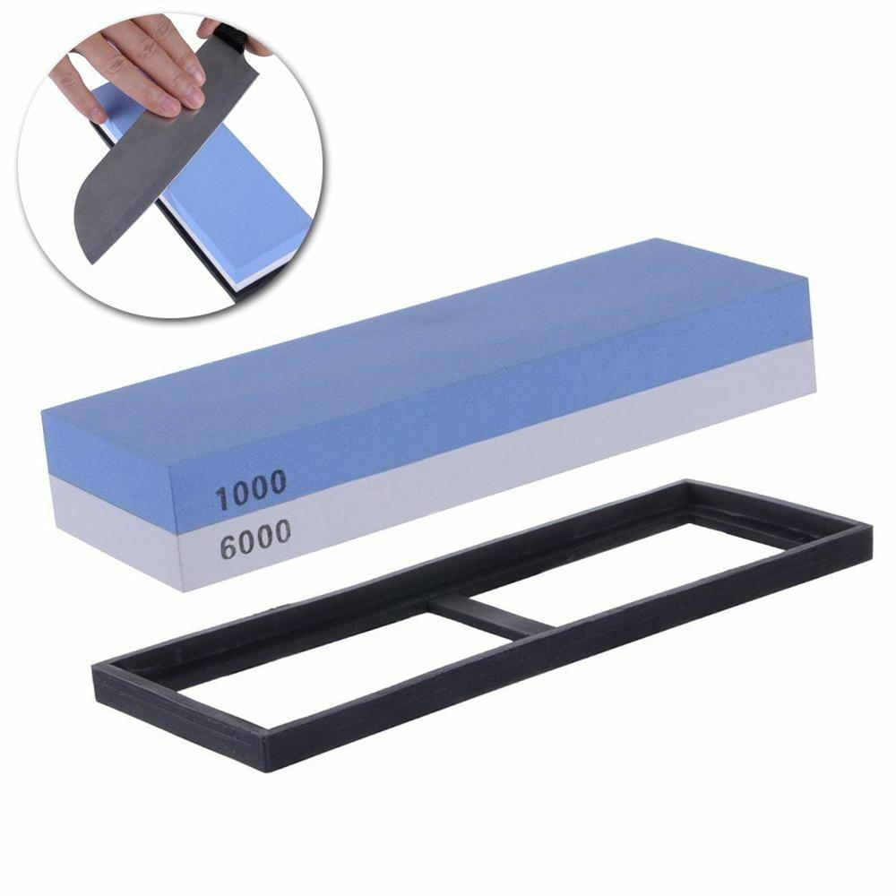 Professional Whetstone Knife Sharpener Dual Sided 1000/6000 Grit Ceramic Steel Knife Sharpening Water Stone for Kitchen Supplies