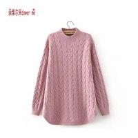 Dower Me 2017 Korean New Winter High Collar Women Sweater Small Wild Short Front Long Slit