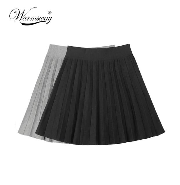 A-Line Women Skirt Knitting Above Knee Thick Skirts Women Wave Hem Black Gray Pleated Skirt Fashion WS-032