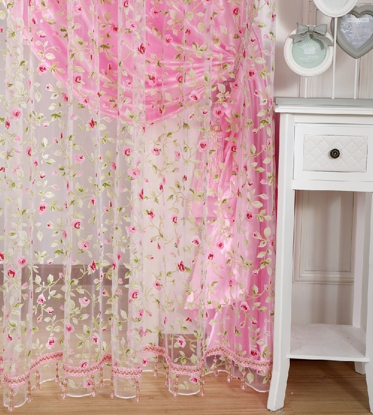free shippin leave design sheer curtain fabric home-in curtains