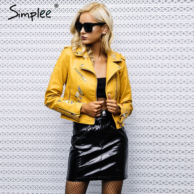 Ladies Embroidery Faux Coat Motorcycle Zip Leather Women Fashion Winter Jacket
