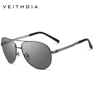 VEITHDIA الرجال النظارات الشمسية العلامة التجارية مصمم الطيار الاستقطاب الذكور نظارات شمسية النظارات gafas oculos دي سول masculino للرجال 1306