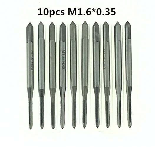 10pcs M1.6*0.35 Machine screw tap HSS H2 Straight Fluted Screw Thread Metric Plug Hand Tap Drill 4pcs set hand tap hex shank hss screw spiral point thread metric plug drill bits m3 m4 m5 m6 hand tools
