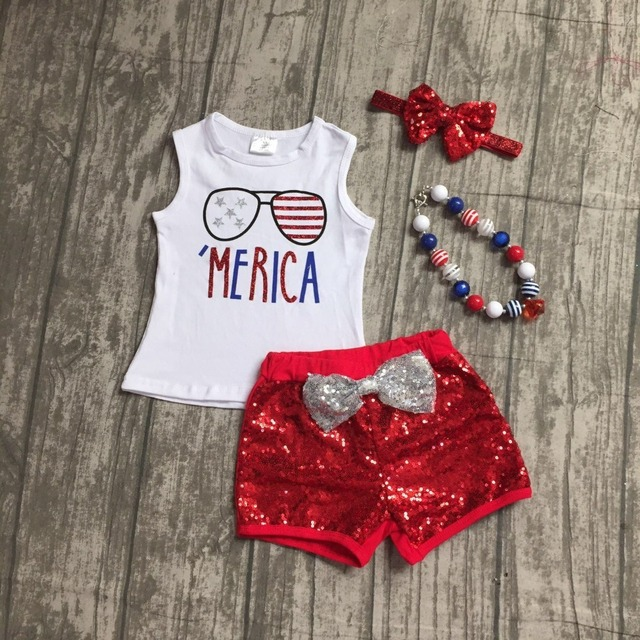 baby girls summer clothing cotton glass merica star stripe boutique