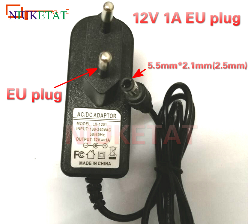 12V1A AC 100V-240V Converter power Adapter DC 12V 1A 1000mA Power Supply Adapter EU Plug DC 5.5mm x 2.1mm(2.5mm) drive led strip