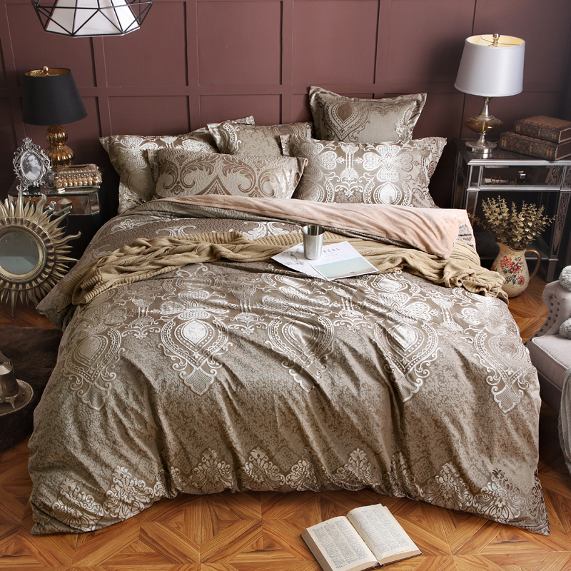 Flannel Fleece Warm Jacquard Bedding set Winter Thick luxury Duvet cover Queen King size 4/6pcs bedclothes Bedsheet Bed linen