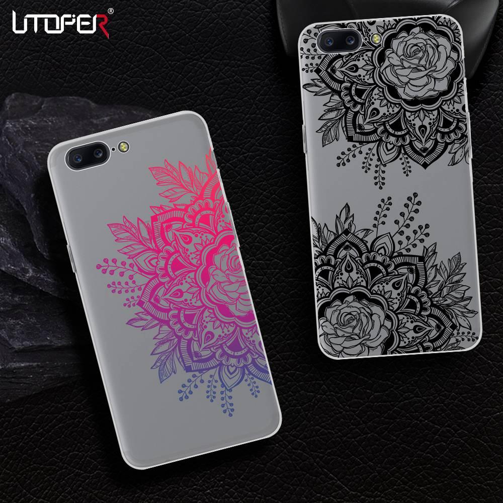 UTOPER Lace Mandala Flower Phone Case For One Plus 5T Case Silicon Cover For OnePlus 5T Case For OnePlus 5 T Coque For OnePlus 5