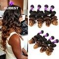 6A Brazilian Loose Wave Virgin Hair 4 Bundles Ombre Brazilian Curly Virgin Hair 100% Human Hair Queen Hair Product Ombre 1b/4/30