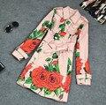 2015 Estilo Británico Gabardina Larga de Las Mujeres Capa Del Resorte Del Otoño Elegante de la Impresión Floral Con Cinturón de Pecho Doble Cazadora Mujeres