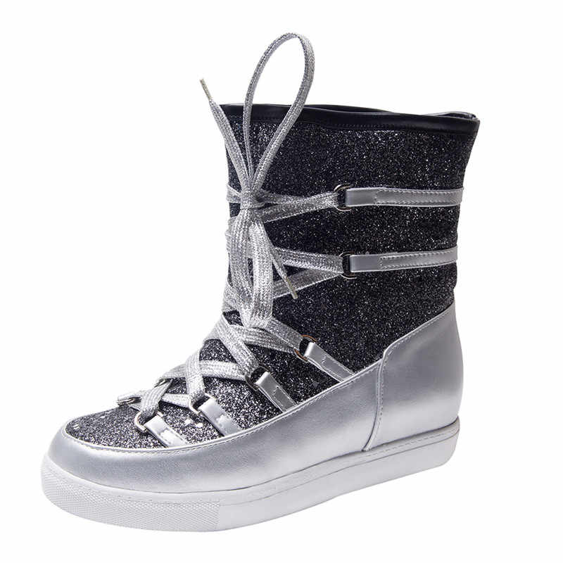 YMECHIC 2019 Ocidente Moda Inverno Botas De Neve Brilho Bling Do Ouro Prata Cruz Amarrada Botas do Tornozelo da Plataforma para Mulheres Sapatos Das Senhoras