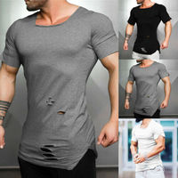 Men Fashion Tees Teen Boy Short Sleeve Summer Tee Hip Hop Summer Hole Ripped Shirts Tops Short Sleeve Cool Solid T-Shirts Blouse