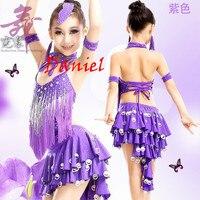 Kids Dance Costumes Lake Blue Purple Red Sapphire Plus Size Latin Dresses L XXXXL Dance Costumes